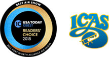 USA Today Readers' Choice 2018 Best Air Show and ICAS logos